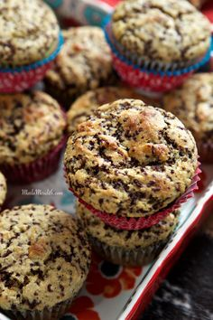 Skinny Banana Muffins with Chocolate Sprinkles | Greek yogurt makes the perfect crumb! MarlaMeridith.com