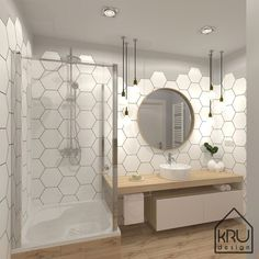 In addition to being a storage solution, bathroom furniture is an inseparable part of the integral design of this room. Bathroom Red, Bathroom Wallpaper, Small Bathroom, Hexagon Tile Bathroom, Handicap Bathroom, Bathroom Stall, Bathroom Mirrors, Wall Mirror, Bathroom Storage