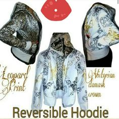 2 in 1 Reversible Small Jacket 60% Cotton 40% Polyester  IN GREAT CONDITION Just Has A Few Brown Milk Spots on the damask crown side  nd bottom trim of jacket WILL NEED TO BE WASHED   Victorian Damask Crown Print & Glossy Cheetah Print Reversible Jacket   2 Pockets on Both Sides  CAN FIT XS OR SMALL Wat Jeans Jackets & Coats