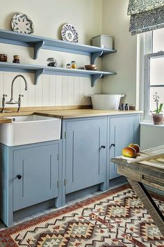 Modern small kitchen designs are clean and very simple. With a modern design for your small kitchen, you can create […] Rustic Kitchen, New Kitchen, Blue Country Kitchen, Country Blue, Country Kitchen Shelves, Country Decor, Country Style, Awesome Kitchen, Country Cottage Kitchens