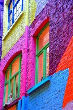 Colores variados en marcos de ventana verdes.