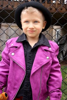 Iggy rocking his new PURPLE biker jacket so 80's and the bowler hat he picked out.