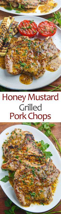 Honey Mustard Grilled Pork Chops Recipe On Closet Cooking. Honey Mustard Pork Chops And Potatoes Recipe Home and Family Pork Chop Recipes, Grilling Recipes, Cooking Recipes, Healthy Recipes, Healthy Grilling, Grilling Sides, Scd Recipes, Budget Recipes, Skillet Recipes