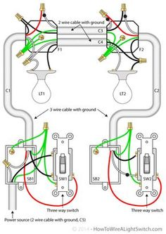 Two lights between 3 way switches with the power feed via one of the house wiring diagram 3 way switch 2 lights wiring diagram with cable with ground asfbconference2016 Choice Image