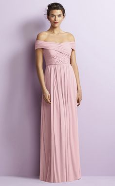 Floor-length Off The Shoulder A-line Pink Chiffon Bridesmaid Dresses BD1650