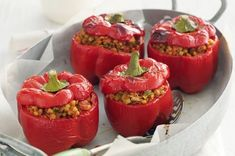 Even meatlovers will love these sweet capsicums stuffed with a spicy mixture of lentils, tomatoes and celery.