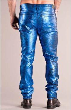 Electric blue foil denim!