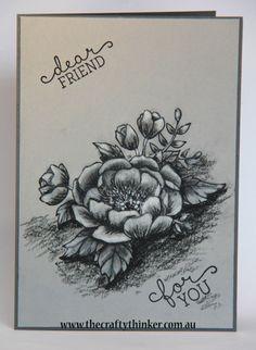 Stampin Up, #thecraftythinker.com.au, Birthday Blooms, monochrome card