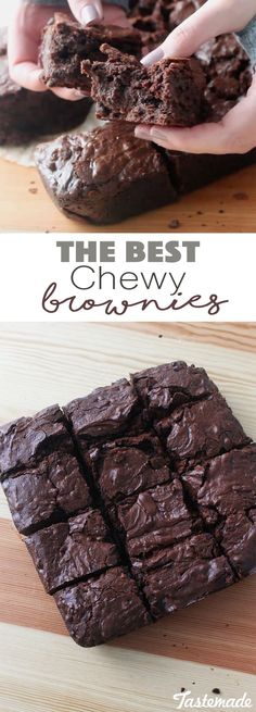 These brownies are so chewy, moist and perfect for any chocolate craving! Healthy Brownie Recipes, Tasty Recipes For Dessert, Easy Yummy Desserts, Easy Baking Recipes, Baking Desserts, Sweets Recipes, Sweet Desserts, Baking Ideas, No Bake Desserts