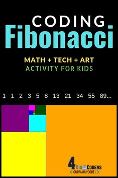 Are you ready to code Fibonacci rectangles and make some cool digital Fibonacci art? You don't want to miss this math + tech + art kid coding activity! Fun Learning, Teaching Kids, Math Activities For Kids, Steam Activities, Math Games, Homeschool Math, Online Homeschooling, Coding For Kids, Math Concepts