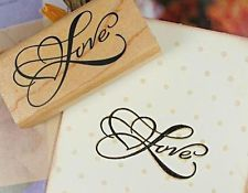 LOVE w/ Heart Wooden Round Stamp Rubber Craft Favour Scrapbooking Wedding Party