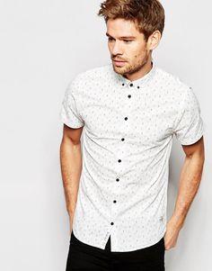 Blend+Slim+Shirt+Short+Sleeve+Buttondown+All+Over+Print+in+White