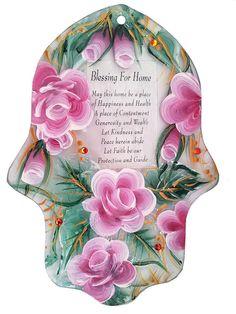 New Blessing Home Glass paint HAMSA Craft by IrinaSmilansky, $48.00