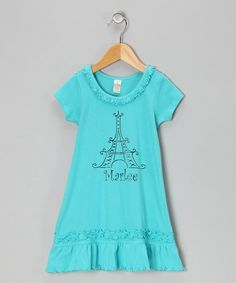 Take a look at this Blue Eiffel Tower Personalized Dress - Infant, Toddler & Girls by Bourbon Street Boutique on #zulily today!