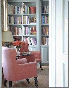 Aqua blues and peachy tones prevail in Carol Glasser's new home.