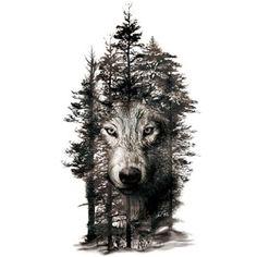 Large Tattoo Sticker Wolf In Trees Fake Tattoo Henna Body Art Temporary Tattoo Stickers Personality Realistic Waterproof Wolf Tattoo Design, Wolf Design, Tattoo Designs, Wood Tattoo, Tattoo Diy, Wolf Tattoo Sleeve, Sleeve Tattoos, Tattoo Wolf, Large Tattoos