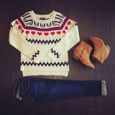 heart print holiday sweater $54, boyfriend denim $68, nubuck ankle booties $44 <3 <3 <3