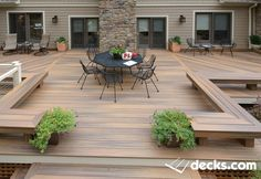 Stain on a deck will just persist for a few decades. Patio decks are normally made of wood and wood pallets. The deck has turned into a revered outdoor space of the contemporary American home. If your deck is made… Continue Reading → Backyard Patio Designs, Backyard Landscaping, Low Deck Designs, Backyard House, Backyard Ideas, Backyard Pergola, Landscaping Ideas, Landscaping Edging, Outdoor Pergola
