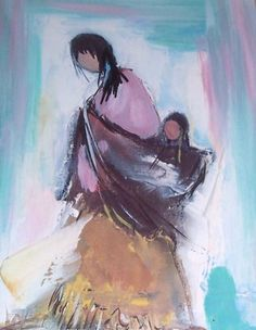 """Navajo Woman and Baby"" Native American Drawing, Native American Paintings, Native American Artists, Navajo Women, Navajo Art, Sand Painting, Southwest Art, American Indian Art, Native Art"