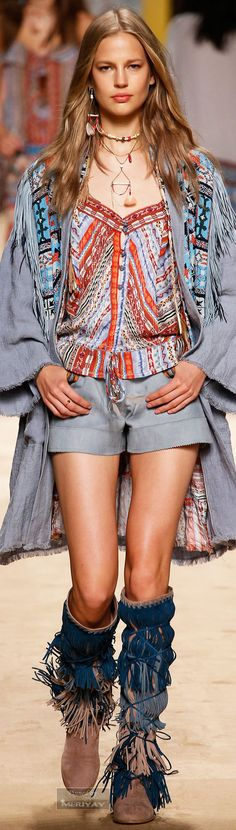Etro.Spring 2015. Absolutely love it! The colours, fringe boots, accessories...all of it! :)