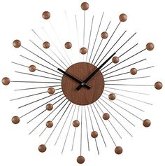 Stilnovo Mid Century Star Wall Clock WoodSilver * Read more reviews of the product by visiting the link on the image.