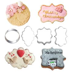 1 Set (4 Pieces) Metal Stainless Steel Wedding Frame Cookie Cutters
