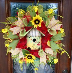Spring/summer birdhouse wreath www.facebook.com/southernsass