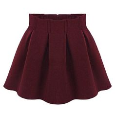High Waist Solid Color Pleated Zippered Stylish Skirt For Women