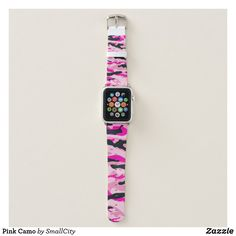Shop Pink Camo Apple Watch Band created by SmallCity. Personalize it with photos & text or purchase as is! Girly Gifts, Pink Gifts, Apple Watch Series 1, Apple Watch Bands, Apple Fitness, Pink Camouflage, Digital Watch, Casio Watch, Quartz Watch