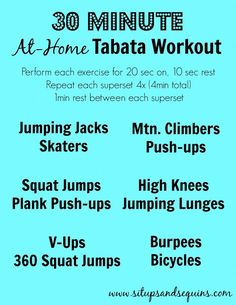 At Home Tabata Workout that takes about 30 minutes