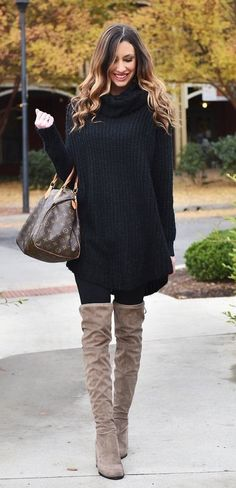 #winter #outfits black knit turtleneck sweater mini dress and brown thigh-high boots outfit #kneehighboots