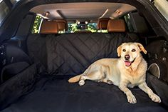 LABRADOR Dog Car Back Seat Cover HeavyDuty WaterProof Machine Washable Hummock Option Extra Side Flaps Seat Belt Openings High Quality Fits Most Cars Trucks and SUV Black *** See this great product by click affiliate link Amazon.com