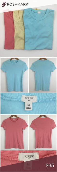 """J. Crew Tee Bundle Bundle of three J. Crew basic tees in beautiful sun washed colors! Fitted. Two crew neck and one v-neck. 100% cotton. Material is stretchy. All are size medium and measure approx. 15.5"""" bust, 25"""" long from shoulder to hem. Worn once or twice. No damage/wear to any. Not interested in separating. J. Crew Tops Tees - Short Sleeve"""