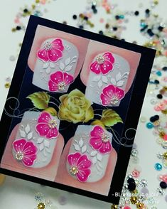 Quer ver mais novidades? Corre pro insta 😍😍💅 Indisponível. 💅 #inspiradoandrea ❤️ Manicure And Pedicure, Nail Designs, Nail Art, Stickers, Nails, Flowers, Pasta, Instagram, White Nail Beds