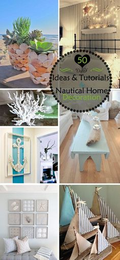 Great DIY Ideas & Tutorials for Nautical Home Decoration. Bring the ocean along with its fun, right to your doorstep! Beach House Bedroom, Beach House Decor, Home Decor Bedroom, Room Decor, Diy Home Decor Rustic, Diy Home Decor On A Budget, Coastal Decor, Coastal Colors, Coastal Cottage