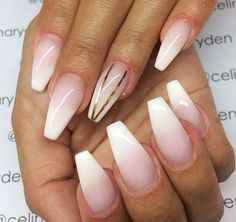 French ombré coffin nails with gold lines. I need to find someone who can do this for me!!!