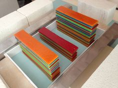 Stacked ready to fuse Flow Slab - Bullseye Bright Spring Green, Red, Orange and a small amount of Egyptian Blue
