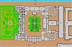 Winter Palace - Unscaled plan of the 1st floor of the Winter Palace as it appears today, the fourth palace on the site. The numbers in this key are referred to throughout the article.
