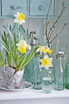 Pretty arrangement yellow tulips in bottles