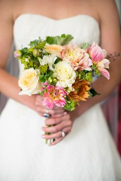 Summer wedding bouquet idea - bright bouquet with pink + yellow flowers and greenery {Michelle Lindsay Photography}