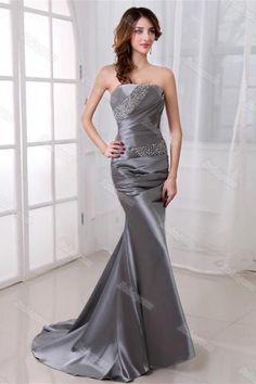 Elegant Mermaid Gray Long Strapless Beading Lace Up Prom Dresses Homecoming Dresses Long, Cheap Prom Dresses, Prom Party Dresses, Modest Dresses, Cute Dresses, Formal Dresses, Simple Prom Dress, Sweet 16 Dresses, Mermaid Dresses
