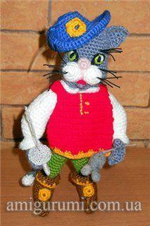 Схема вязания кота в сапогах
