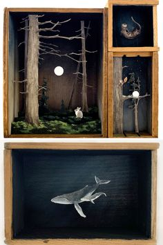 Art Crafts, Arts And Crafts, Beauty In Art, Colossal Art, Wooden Boxes, Night Time, Diorama, Printmaking, Animation