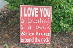 I love you a bushel and a peck hand painted wood by caitcreate, $45.00