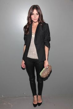 black leather leggings + blazer just love this look right now