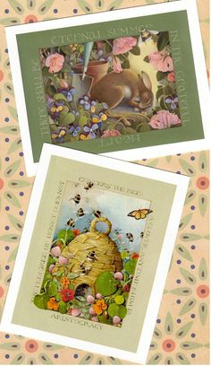 garden theme mini print beehive rabbit butterfly by atticEditions, $10.00