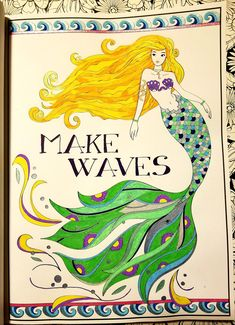 colored with gel pens and markers Mermaid Coloring Book, Coloring Book Art, Creation Coloring Pages, Wolf Wallpaper, Z Arts, Cat Colors, Gel Pens, Ink Art, Markers