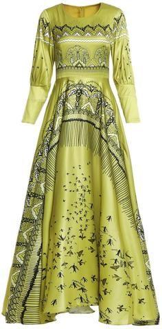 Silk-Blend Printed Gown