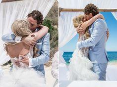 Bride and groom first kiss photo by Garrett at AlgarveWeddingPhotography.com