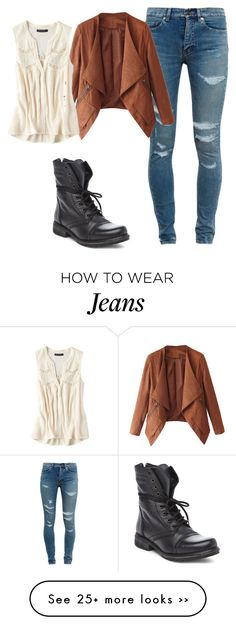 """Fall- white jeans and leather"" by zdesigner on Polyvore featuring Yves Saint Laurent, American Eagle Outfitters and Steve Madden"